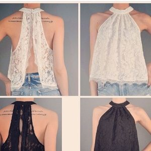 Tops - Open back lace shirt available in white ONLY